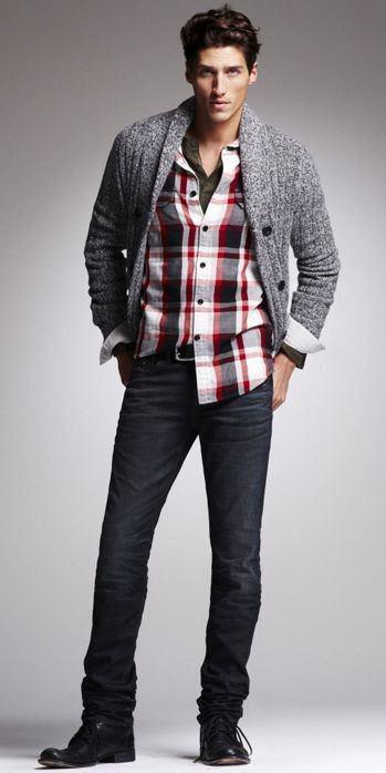 gri hırka jean gömlek